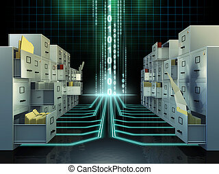 File system - Some file cabinets in a digital space. Digital...
