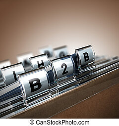 File tab with focus on B2B, beige background. Image concept for illustration of Business to Business