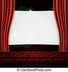 file, teatro, cinema, posti, o, rosso