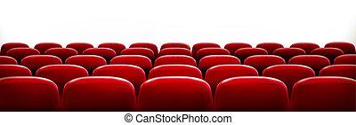 file, teatro, cinema, posti, scre, vuoto, fronte, bianco, o, rosso