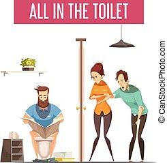 file, toilette, concept, conception
