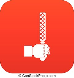 File tool in man head icon digital red