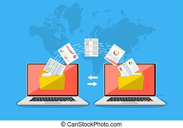 File transfer. Copy files, data exchang - File transfer. Two...