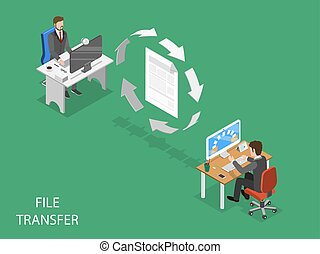 File transfer flat isometric vector concept. Circular arrows...