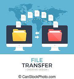 File transfer. Two computers with folders on screen and...