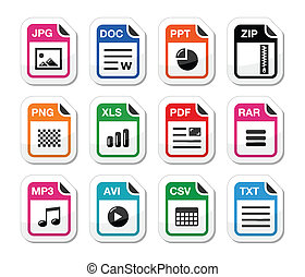 File type icons as labels set - zip - Popular internet file...