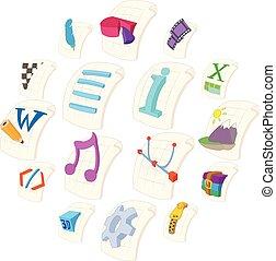 File Type Icons set, cartoon style