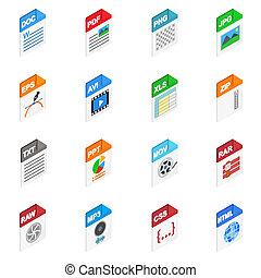File Types icons, isometric 3d style