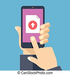 File upload button on smartphone screen. Hand holding...