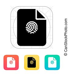 File with fingerprint icon. Vector illustration.