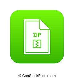 File ZIP icon digital green