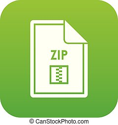 File ZIP icon digital green