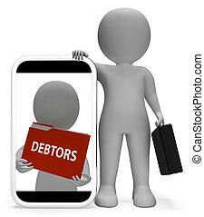filer, betyder, gengivelse, debitorer, organisation, brochuren, 3