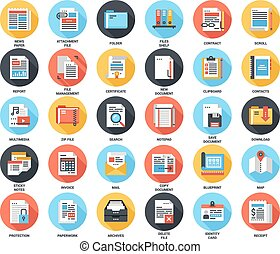 Files and documents flat icons