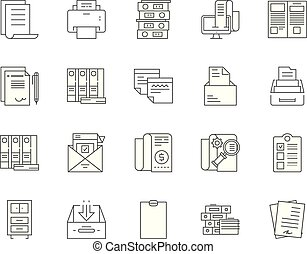 Files and documents line icons, signs, vector set, outline illustration concept