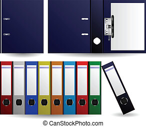 A set of colorful files and folders arranged accordingly.