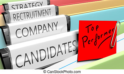 Files on top performer candidates for a company position. 3d...