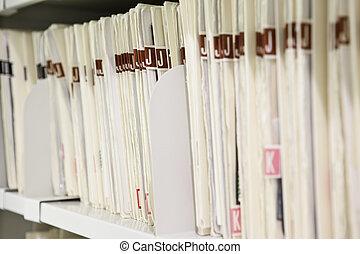 Files organized on shelf