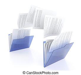 Files transfer - 3D illustration of two blue folder icons...