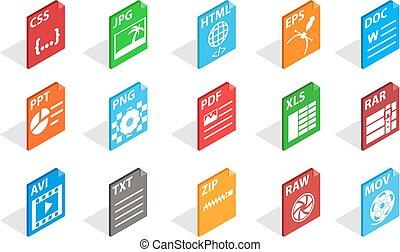 Files type icon set, isometric style - Files type icon set. ...