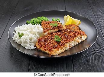 filet, citron, poisson blanc, riz
