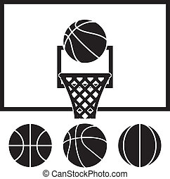 filet, ensemble, balles, panneau, vecteur, basket-ball