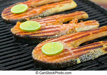 filet, fris, kalk, salmon, grill, gaar