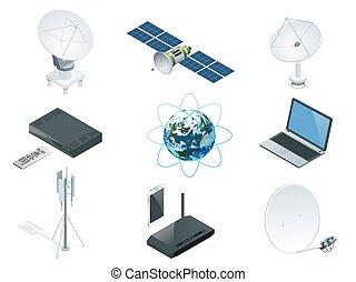 filet, gps, orbite, technologie, vecteur, antennes, sans fil, isolé, station, isométrique, espace illustration, tours, la terre, télescope radio, routeur, mondiale, communication, satellite, global, icônes