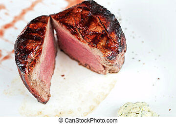 Filet mignon, char-grilled to medium rare