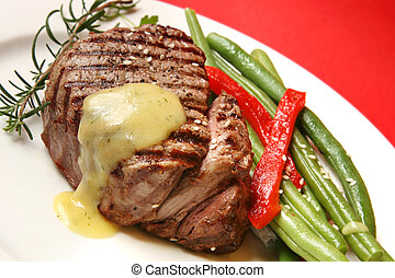 Filet Mignon - Filet mignon with bearnaise sauce, green...