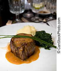 Filet Mignon - Macro of a professionally prepared gourmet...