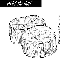 filet mignon sketch by hand drawing.