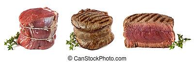 Filet Mignon - Three views of a filet mignon - uncooked,...