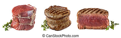 Filet Mignon - Three views of a filet mignon - uncooked,...