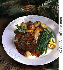 Filet Mignon with green beans and roasted potatoes