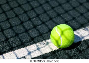 filet tennis, balle, tribunal, ombre