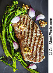 filete, asado parrilla, cima, chalotes, integral, vista, mostaza, broccolini
