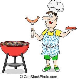 filete, hombre, salchichas, delantal, asado a la parilla