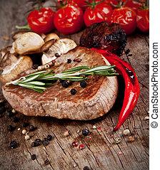 filete, madera, delicioso, carne de vaca