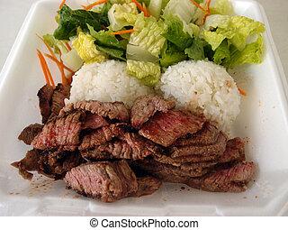 filete, placa, sacudida, ensalada, arroz, styrofoam, blanco
