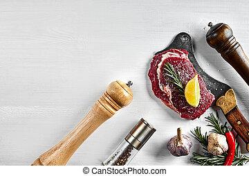 filetes, aceite, hierbas, crudo, aceituna, fresco, sal, fondo., vista., romero, blanco, cocina, cima, ajo, pimienta, hacha