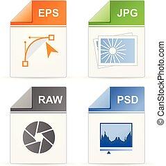 filetype, formaat, iconen, -, psd, rauwe, jpg, en, eps