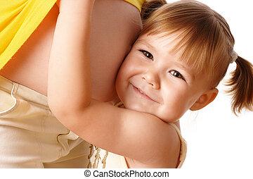 filha, dela, grávida, abraço, mãe, feliz