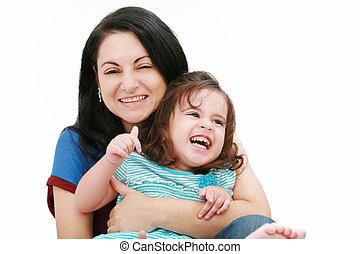 filha, dela, jovem,  closeup, mãe, divertimento, tendo, Feliz