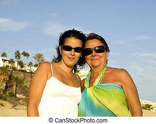 filha, férias, mãe