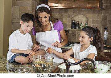 filha, família, filho, mãe, assando, cozinha
