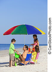 filha, família, pai, filho, pais, mãe, praia, crianças