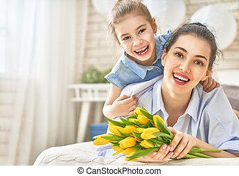 filha, felicitação, mãe