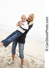 filha, inverno, mãe, divertimento, feriado, praia, tendo