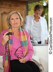 filha, ironing, para, mãe